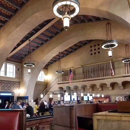 If arriving by train or Metro at Union Station in Los Angeles, enjoy a cold one and a snack at Imperial Western Beer Company.