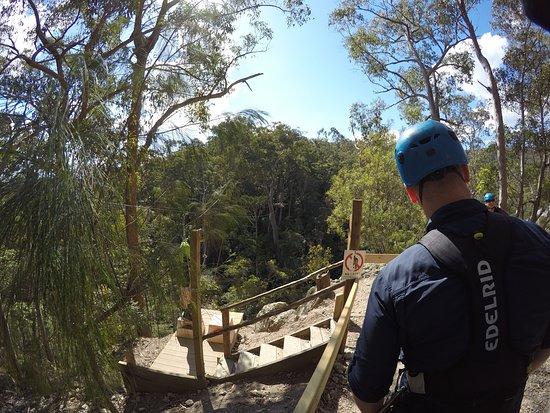 Gold Coast Canyon Flyer Zipline Tour: Getting ready to zip across the creek