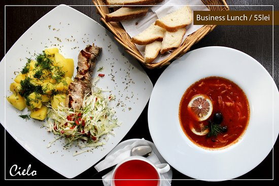 Cielo Lounge & Restaurant: BusinessLunch - #55lei I Luni 🕛 🍲 Soleancă & smântână  🍲 Cartofi cu mărar & frigărui de porc 🍞 Pâine ☕️ Ceai/Cafea  👉Ne găsești aici👇 ▪️ Adresa: Str. Piața Unirii Principatelor 3, Chișinău 📞 079 309 309