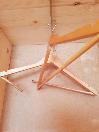 в шкафу две сломанные вешалки и все