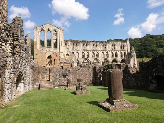 Rievaulx Abbey: Sun and clouds over marvellous ruins.
