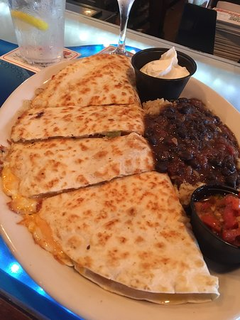 Absolutely delicious Firecracker shrimp quesadilla and coconut cake!