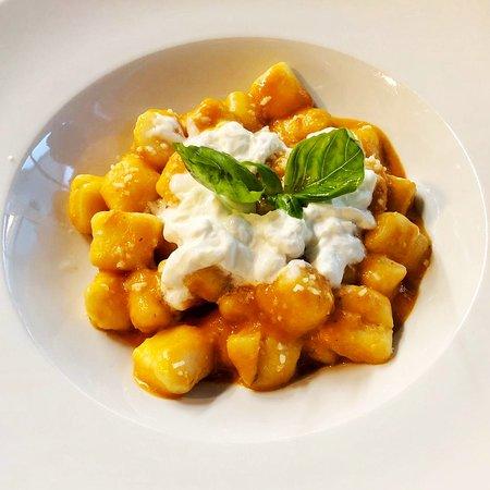 Gnocchi of the week!  Tomato sauce and burrata.