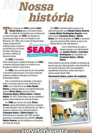 Sorveteria Seára: Nossa História,uma das sorveterias mais antigas no estado e no brasil.
