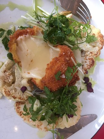 Cauliflower with cheese bombe (my description) - delicious