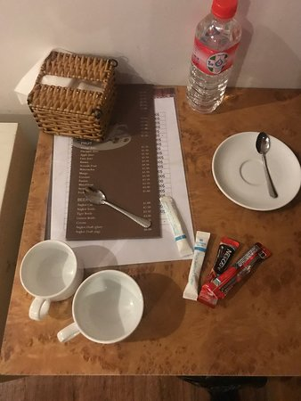 Not even teabags provided,  just two mis-matched cups and a jug which didn't extend to the powerpoint.