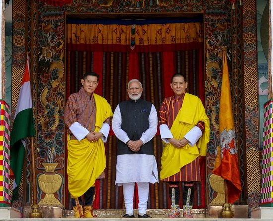 Thimphu District, Bhutan: 18 August 2019: In honour of the Prime Minister of India, Shri Narendra Modi's visit to Bhutan, a Royal Luncheon was hosted at the Grand Kuenrey of the Tashichhodzong.