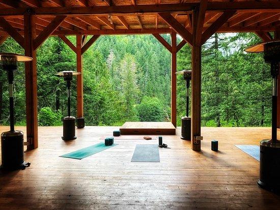 outdoor yoga studio overlooking the river
