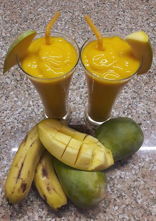 Mango banana smoothie. Our smoothies are very healthy and contain only fresh fruit and ice cubes