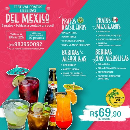 😍🇲🇽 Já conhece nosso EL GRAN FESTIVAL DEL MEXICO? São 8 opções das mais deliciosas porções para você 🌯🥑 ➕ 7 opções de bebidas para pedir à vontade! Tudo isso por apenas 👉🏼 R$69,90 por pessoa!  🗓 Servido das 19h às 22h  ⚠ Válido para grupos acima de 10 pessoas.  Vem pro Boteco para aproveitar! 🦎  📍 Av. Dr. Jesuíno Marcondes Machado, 1797  📞 (19) 983950092