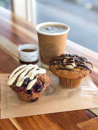 Daily BAKED FRESH in house Bran and Oatmeal muffins of various amazing flavours 😋  ~BlackBerry Earl Grey Oatmeal with Lemon Cream Cheese Icing ~Banana Chocolate Chip Bran with Chocolate Drizzle