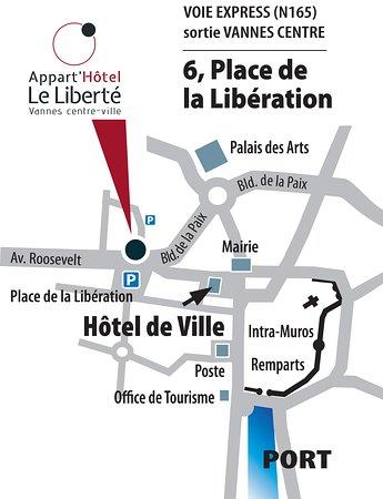Plan d'accès Apaprt'hôtel à Vannes
