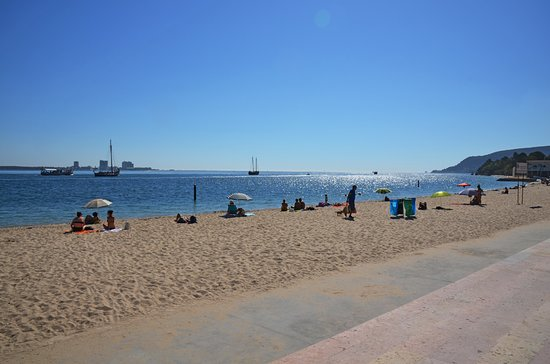 Setúbal, Portugal: On Tripadvisor's Portugal forum there were a couple of comments which stated there was no town beach in Setubal. Well, this is it. It's located just beyond the harbour.