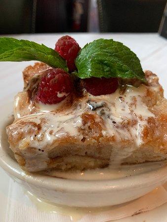 Bread pudding.   Deliciously tasteful.