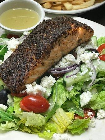 Greek Salad with Blacened salmon
