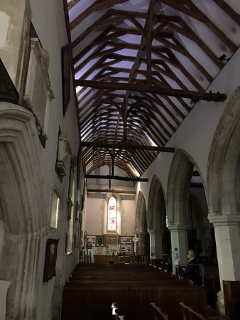 Holy Trinity Cookham: Interior features and unusually shaped tombstones in the churchyard