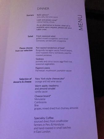 British Airways: Dinner menu
