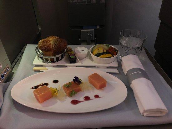 British Airways: Balik salmon starter, salad and roll in the background