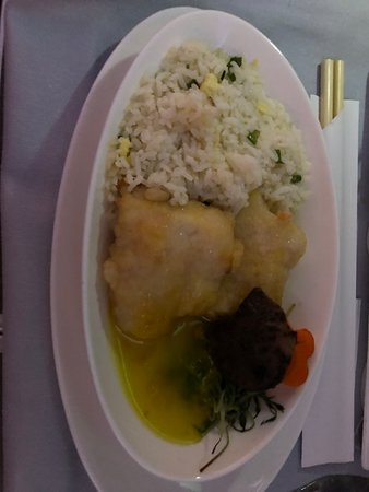 British Airways: Seabass with pomelo citrus sauce and fried rice