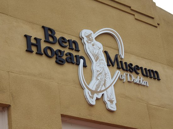 Exterior sign, Ben Hogan Museum of Dublin, Texas.