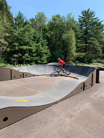 Champion, MI: Bike obstacle course by the beach.