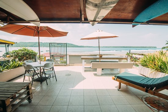 """The guest terrace with a fantastic view to the surf spot """"The Point"""" in Sorake, Nias."""