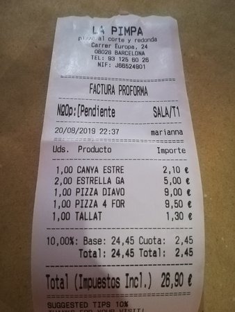La Pimpa Pizzeria: TICKET