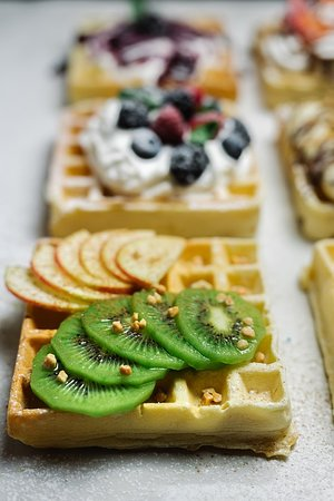 Waffles with sweet toppings