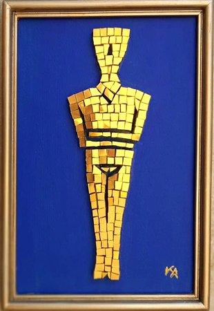 Mosaic,Cycladic figurine