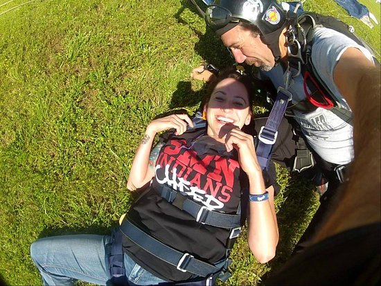 Henrietta, MO: Sometimes you just get overwhelmed by it all. She's punch drunk in love with skydiving.