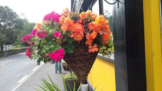 The Mills Inn Pub: Beautiful hanging baskets surround the exterior