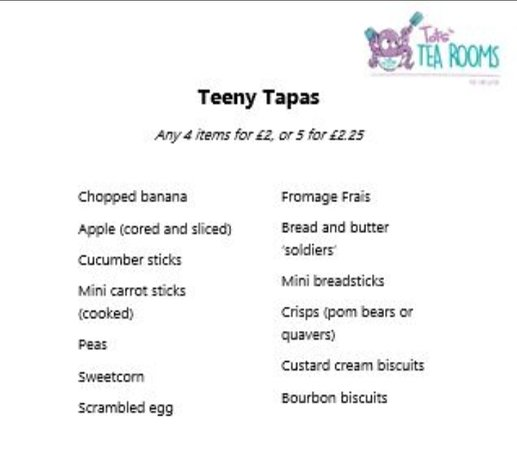 Wallsend, UK: Our menu for 'teeny tots'
