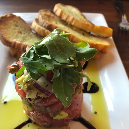 CORKS in the San Francisco Richmond district! Ahi Tuna tower appetizer and Quail Ragu sans the delicious homemade pasta due to this person's Keto dietary needs. absolutely delicious...