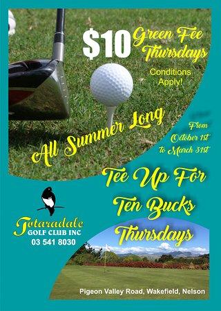 Thursday $10 Green Fees all summer long
