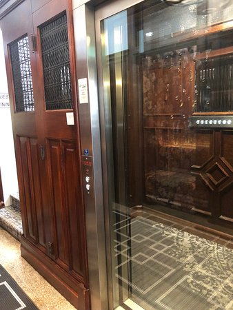 Restored lift takes you up to the rooms.