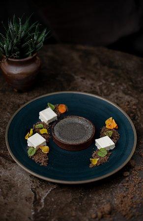 Black Sesame Lava Tart with Sweet Tofu Mousse