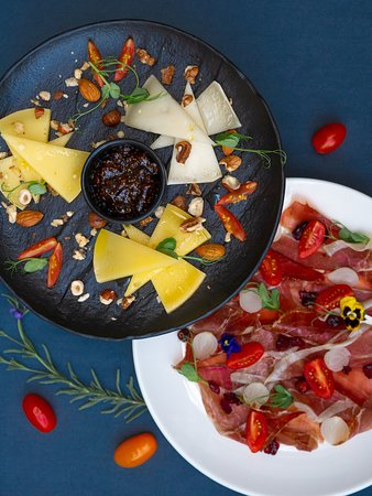 Cold entree - a selection of cheeses and Dalmatian prosciutto