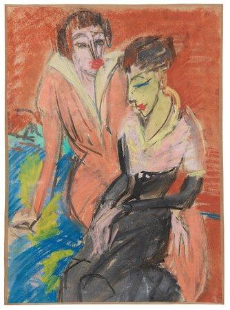 Ernst Ludwig Kirchner, Zwei Frauen, 1913,  Franz Marc Museum, Dauerleihgabe aus Privatbesitz,   Foto: www.collecto.art