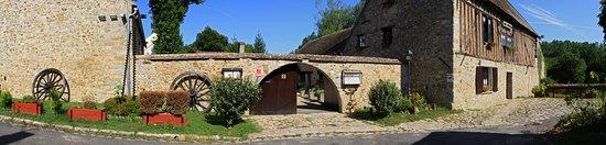 Flagy, Frankrike: Vue panoramique du moulin et de son entrée. Le restaurant est un ancien moulin du XIIIè siècle transformé en hôtel restaurant.