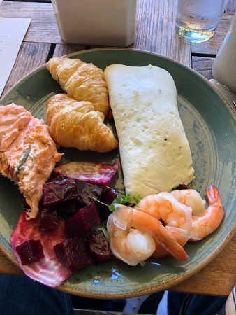 Gallow Green: Example plate: Salmon, croissants, Egg White Omelet, Shrimp, and Beet Salad.