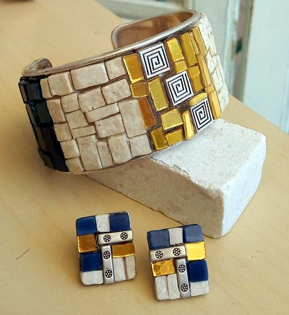 Bracelet-cuff and earrings(gold tiles marbles ant stained glass) handmade by Mosaics24 in Hanioti Halkidiki
