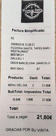 Pizzeria Sants: Menú  diario 10,80€.