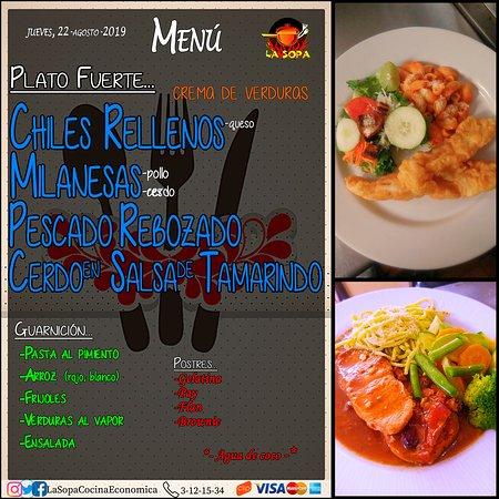 Jueves 22-Agosto-2019 Los esperamos y buen provecho. #MenuDelDia #YoComoEnLaSOPA #LaSOPACocinaEconomica https://twitter.com/LaSopaCocina https://www.instagram.com/lasopacocinaeconomica/ https://www.facebook.com/LaSopaCocinaEconomica/