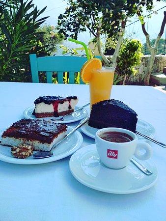 Moni, اليونان: Everyday homemade dessert!  Honey cake with nuts and yogurt,  chocolate cake with ice cream and cheese cake 🍰🍮🍦