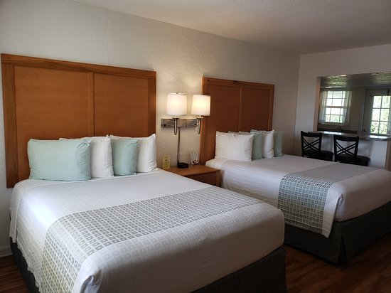 Premium Studio with two queen beds, full kitchen, and patio.