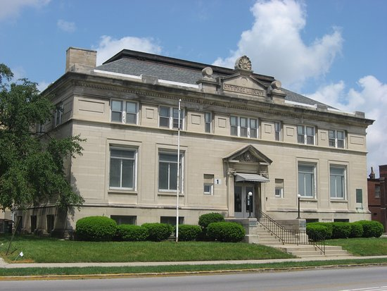 Huntington, IN: store front, old Carnegie Library. Only one used for retail game store in the world. Nominated for game store of the year internationally