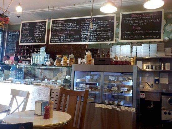 tables, menu,and  food displays