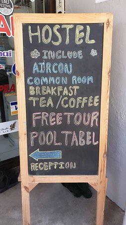 A warm welcome awaits you at Koh Tao Central Hostel.  Island wide discounts, free bicycle ride tour, complimentary tea & coffee, breakfast prepared for you at our partner restaurant Reef Sports Bar.  Check our latest reviews then book on our own website for the best deal.