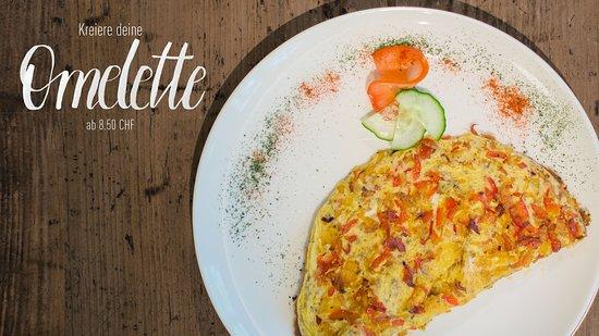 Bei uns im Kalchofen kannst du deine Omelette selber zusammenstellen, so wie es deinen Wünschen entspricht.