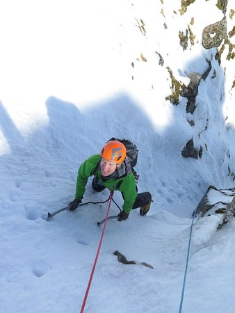 Ice climbing on Left Twin, Aonach Mor